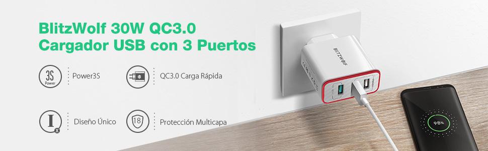 [Quick Charge 3.0] Cargador USB de Pared, BlitzWolf 30W QC3.0 Cargador Móvil con 3 Puertos con Tecnología Power3S para iPhone, iPad, Samsung Galaxy, ...
