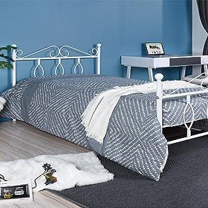 Aingoo de Cama Individual de Metal con cabecero y Pedales de Madera Maciza con Paneles de radián Macizo, colchón de 90 * 190 cm Blanco