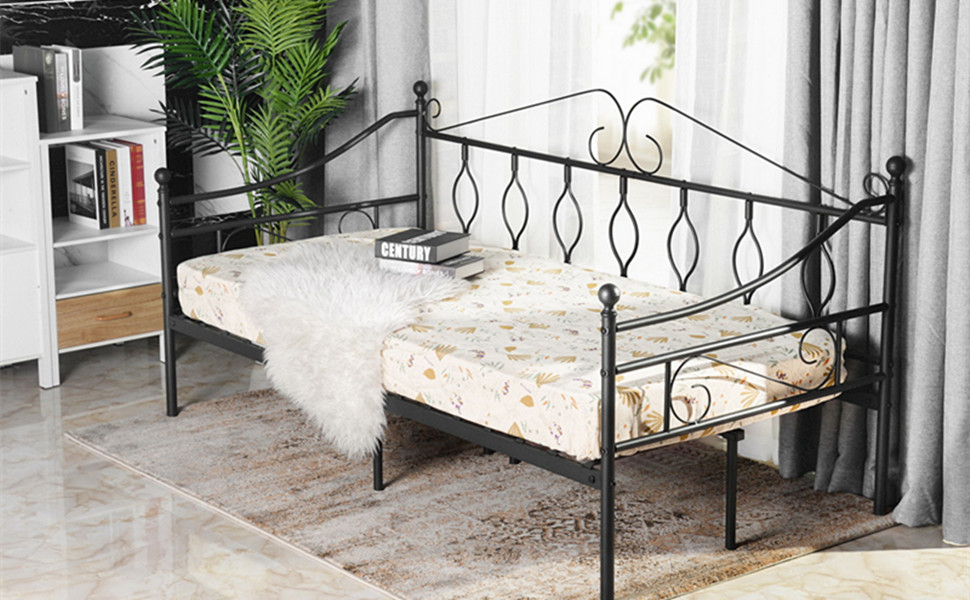 Aingoo sofá Cama Armadura de Cama con tablillas Cama de día Cama de Invitados 90 x 190 CM (sofá Cama)