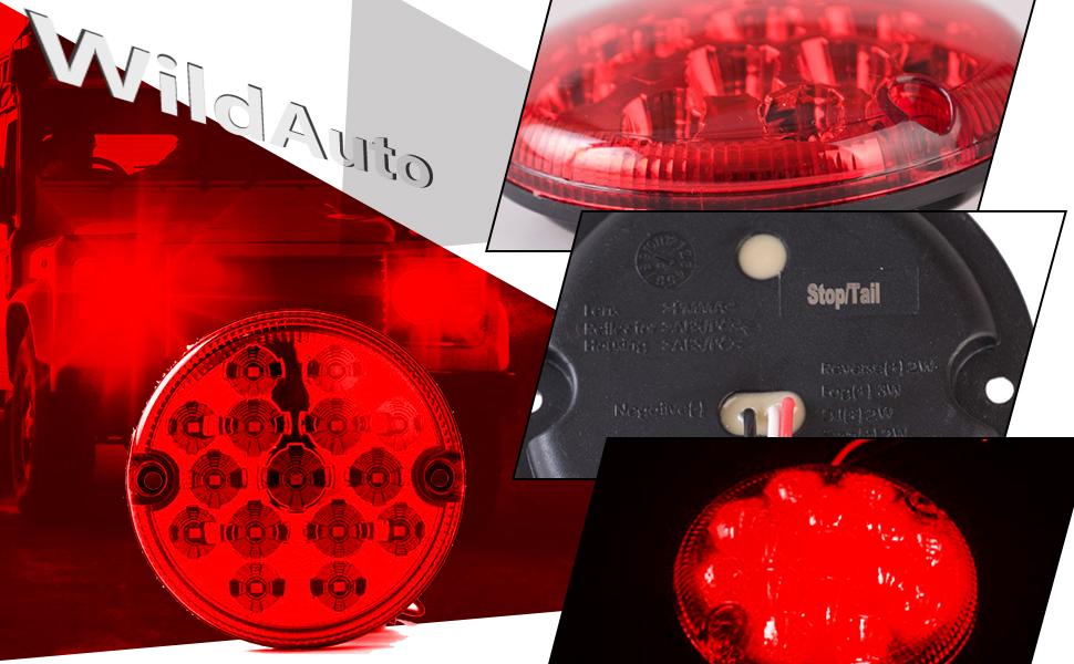 Blanco 2pcs WildAuto LED Luces Traseras Para Truck,Cami/ón Luz de La Cola Blanco Luz de Estacionamiento 95 mm 12 V//24 V