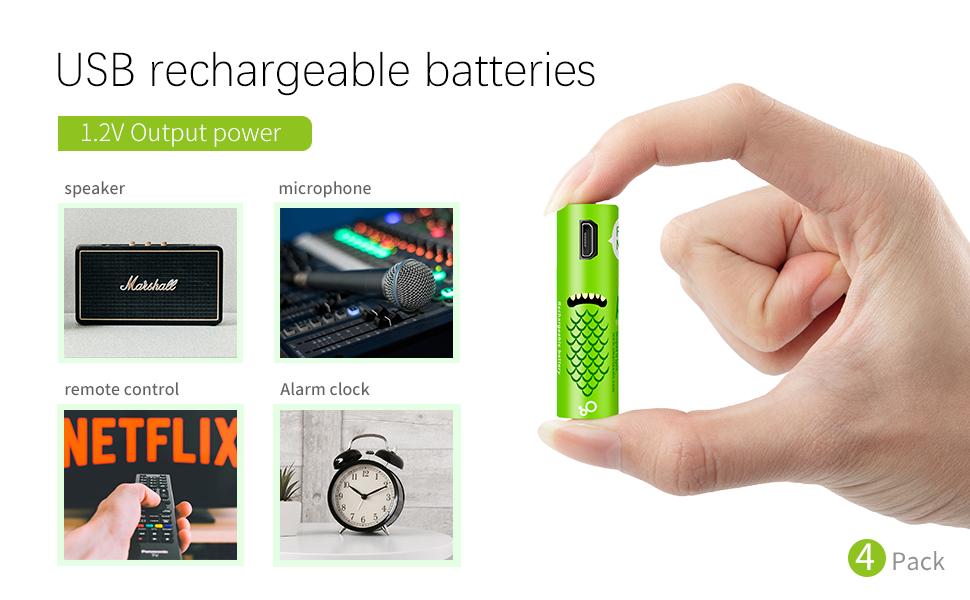 Pilas Recargables AA,Baterías Recargables USB Recargables Elzle 1000mAh con Puertos USB Alta Capacidad 1.2 V Batería Recargable de Auto Descarga de ...