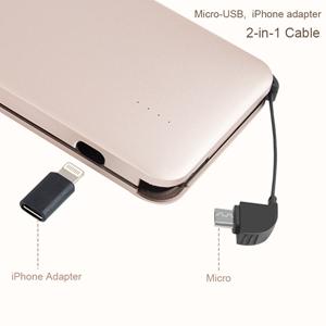 elzle Cargador portátil, Banco de energía de 10000mAh con Cable USB telescópico Incorporado y Adaptador iOS Batería portátil (Dorado)