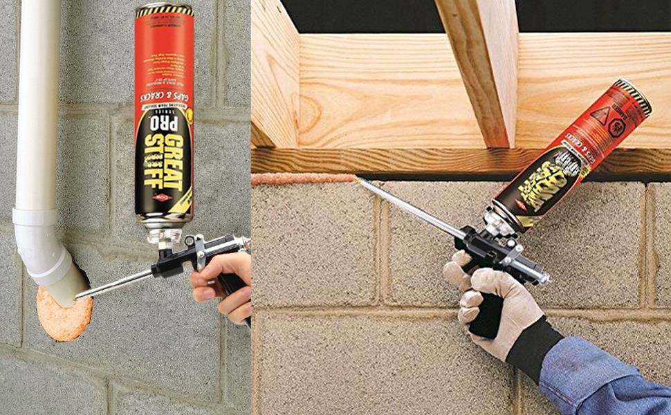 Una pistola de espuma se utiliza en varios trabajos de construcción, renovación y renovación. Se usa para llenar áreas vacías con espuma de construcción.
