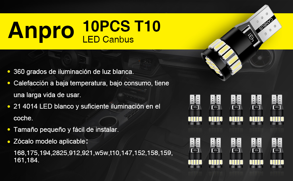 Anpro 10 Paquetes T10 LED Canbus Bombillas,T10 W5W LED Blanco ...