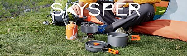 SKYSPER Kit de Utensilios Cocina Camping de 8 Piezas Ollas Sartén de Aluminio Hervidor Tazas Cubiertos Vajilla de Picnic Portátil Cacerolas Juego para ...