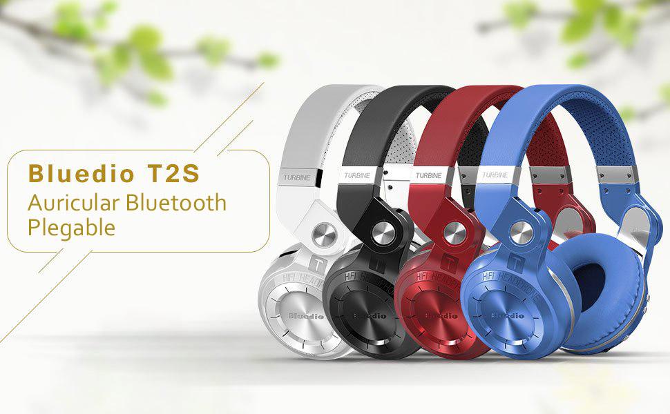 Bluedio T2S - Auriculares de diadema cerrados inalámbricos