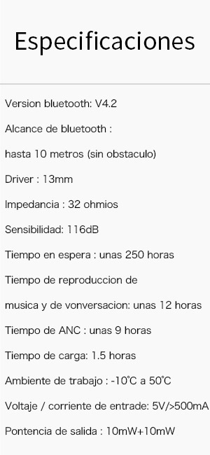 Contenido de la caja 1x Auriculares bluetooth