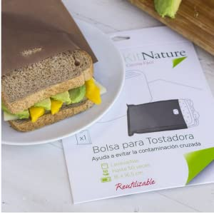 Kit Nature Bolsa para Tostadora - Pack de 3 Bolsas para Tostar Antiadherentes, Reutilizables, Lavables, Libres de PFOA - Tamaño Sandwich 16 x 16,5 cm