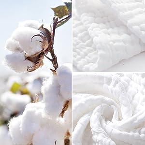 El algodón de muselina 100% natural es bueno para la piel del bebé.
