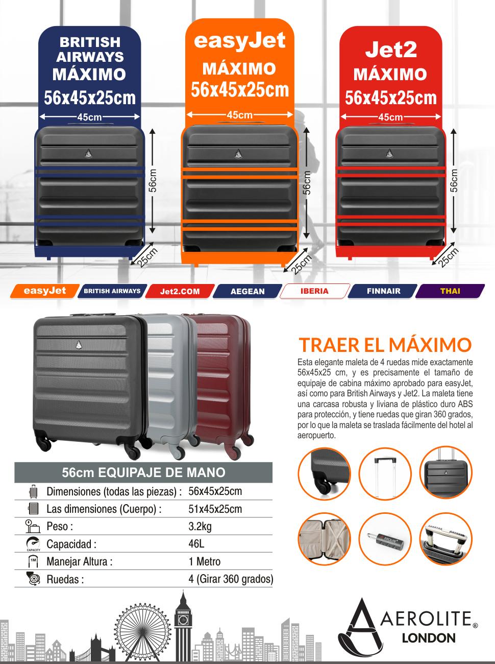 muy agradable mejor valor productos de calidad Aerolite 56x45x25 Tamaño Máximo Easyjet / Iberia / Jet2 / British Airways  46L Trolley Maleta Equipaje de mano cabina rígida ligera con 4 ruedas ...