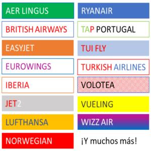 La maleta mide 55x40x20cm (tamaño respaldado por Ryanair y Vueling), y es adecuado para muchas otras aerolíneas, incluyendo: