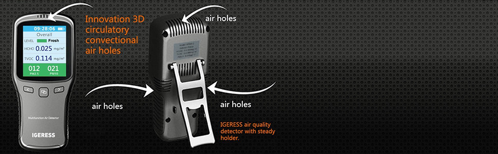 ¡Estructura de estilo distintiva con entradas y salidas múltiples para bombear muestras de aire!