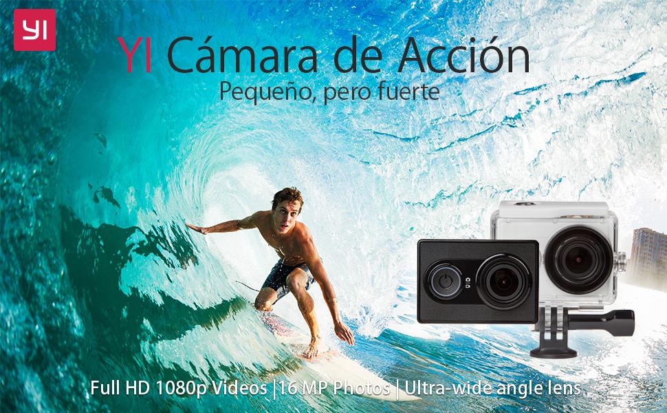 YI - Cámara de acción (Carcasa Impermeable, 16 Mpx, 2 K, 1080p/60 fps, 2,4 G, Wi-Fi, Bluetooth 4.0)