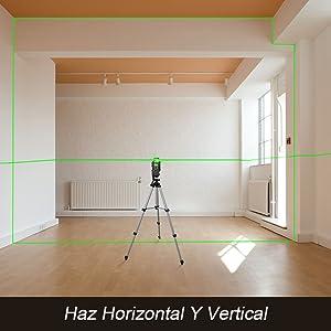 Nivel láser semi profesional autonivelante - Huepar 902CG Láser Línea cruzada Láser Cobertura de 360 grados Línea horizontal y Línea vertical, los ...