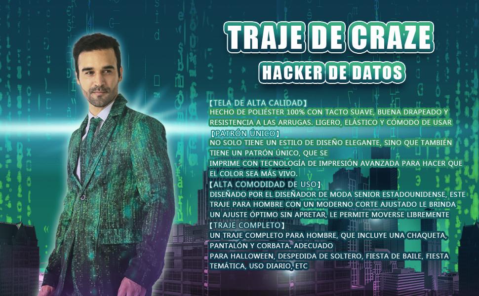 EraSpooky Hacker de Datos Trajes para Hombres Viene con Pantalones ...