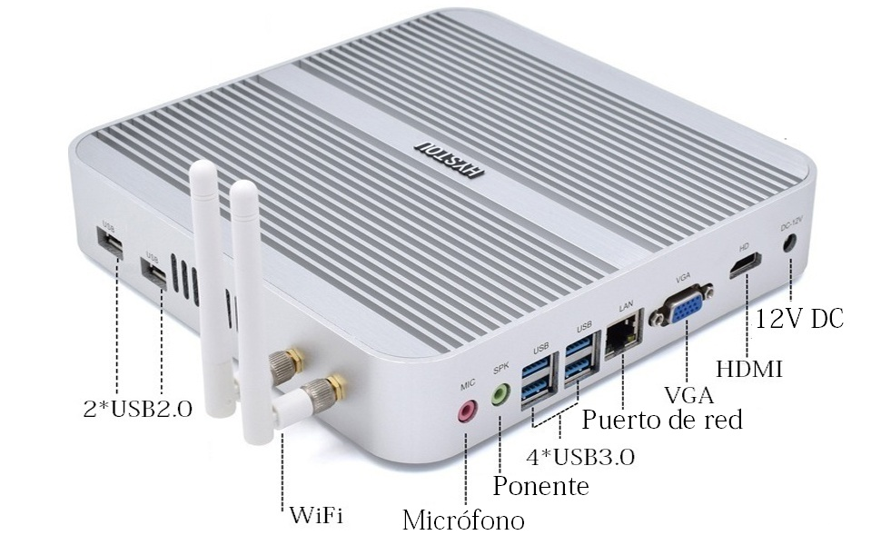 HYSTOU Fanless Industrial Mini PC,Intel Core i5-4200U, Computadora ...