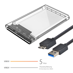 ELUTENG Disco Duro Caja USB 3.0 2.5 Inch HDD/SSD Case Transparente 5Gbps Sopporta UASP High Speed Carcasa Externa Hard Disk Driver Enclosure Clear Box ...
