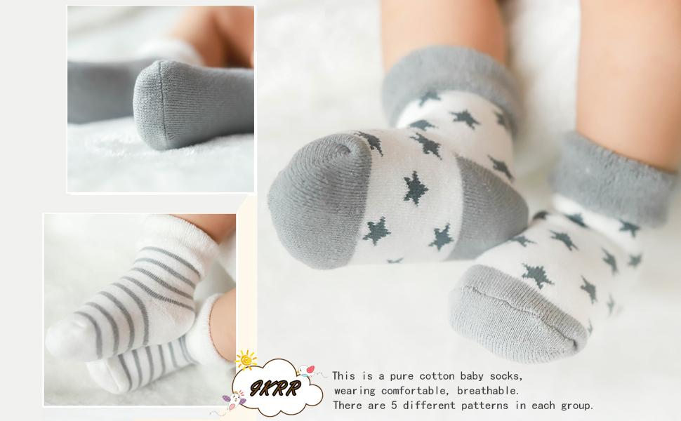 IKRR 5 piezas Babys Socks Calcetines para Bebes Ni/ños Ni/ñas Algod/ón Bebe Reci/én Nacido