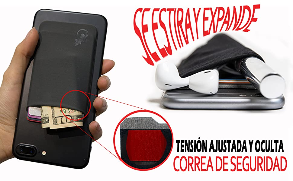 El Monedero Adhesivo Gecko para teléfonos celulares, Diseño Ultra Slim (Ultra Delgado) & Custom (Personalizado) en Color Negro
