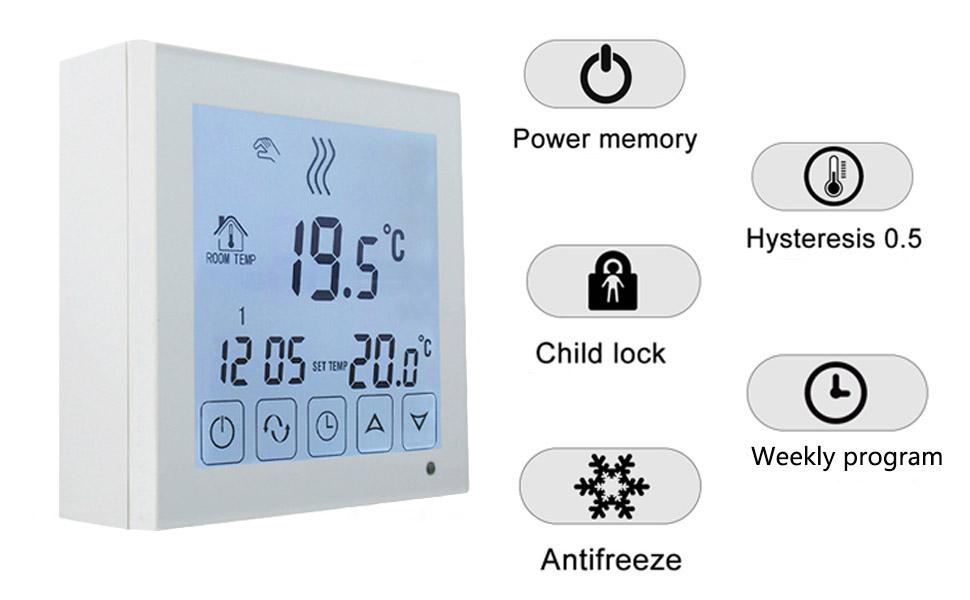 Beok BOT323W Termostato Programable Digital de Calefacción por Calderas de Gas, con Pantalla LCD Controlador de Temperatura 1.50 voltiosV Funciona con ...