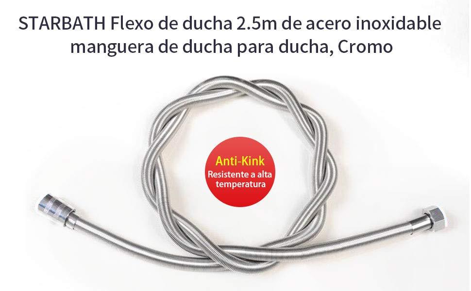 STARBATH Manguera de Ducha de Acero Inoxidable Flexo Ducha 2,5M, Cromo