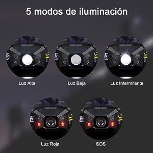 3 Pilas AAA not incluidas Linterna Frontal LED Linterna de Cabeza Super Brillante 120 Lumens Lamp/ára de Cabeza Impermeable Luz Frontal 3 Modos Para Camping Pesca Ciclismo Carrera Caza