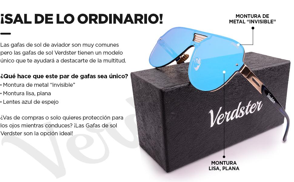 Verdster Gafas De Sol De Aviador Oversize Hombre TourDePro – Aptos para Conducir – Montura Cómoda con Protección UV – Incluye un estuche, funda y un ...