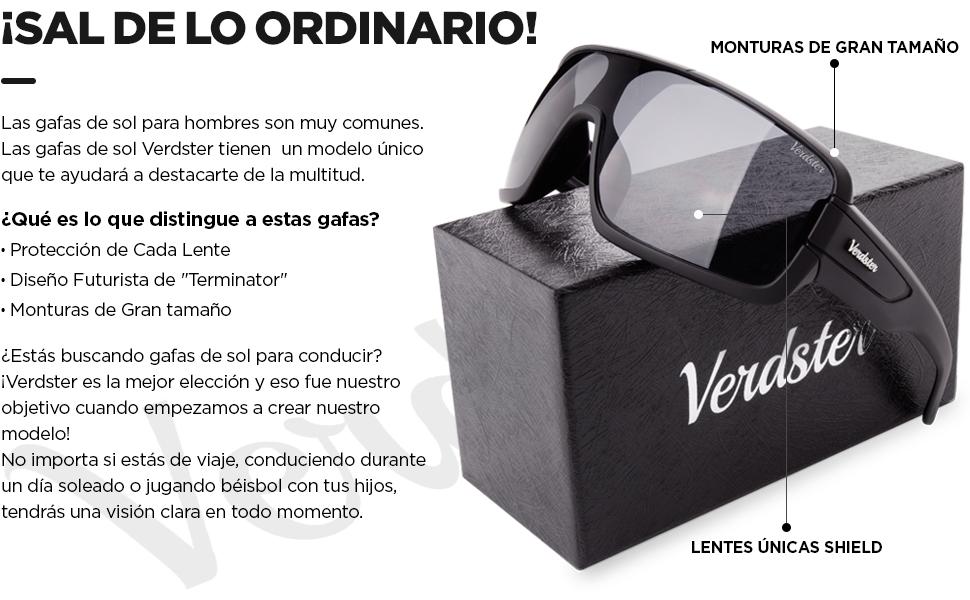 Verdster Gafas De Sol Grandes Hombres – Aptos para Conducir – Montura Envolvente Cómoda con Protección UV – Anteojos De Estilo Terminator o Robocop - ...