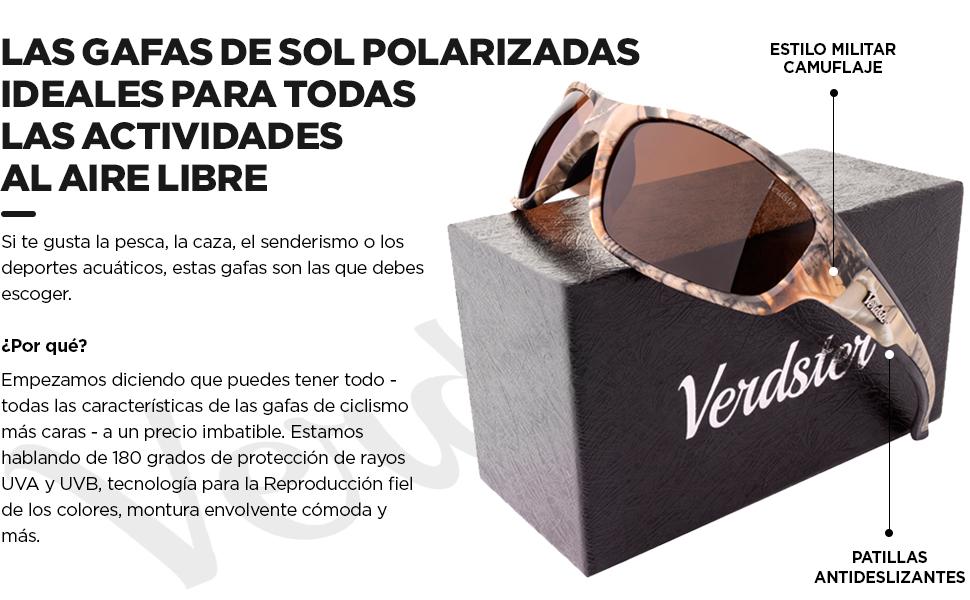 Gafas de sol POLARIZADAS Pesca VERDSTER TourDePro Para Hombres y Mujeres– Aptos para Pescar, Caza e Ir en bicicleta – Montura Envolvente Cómoda con ...