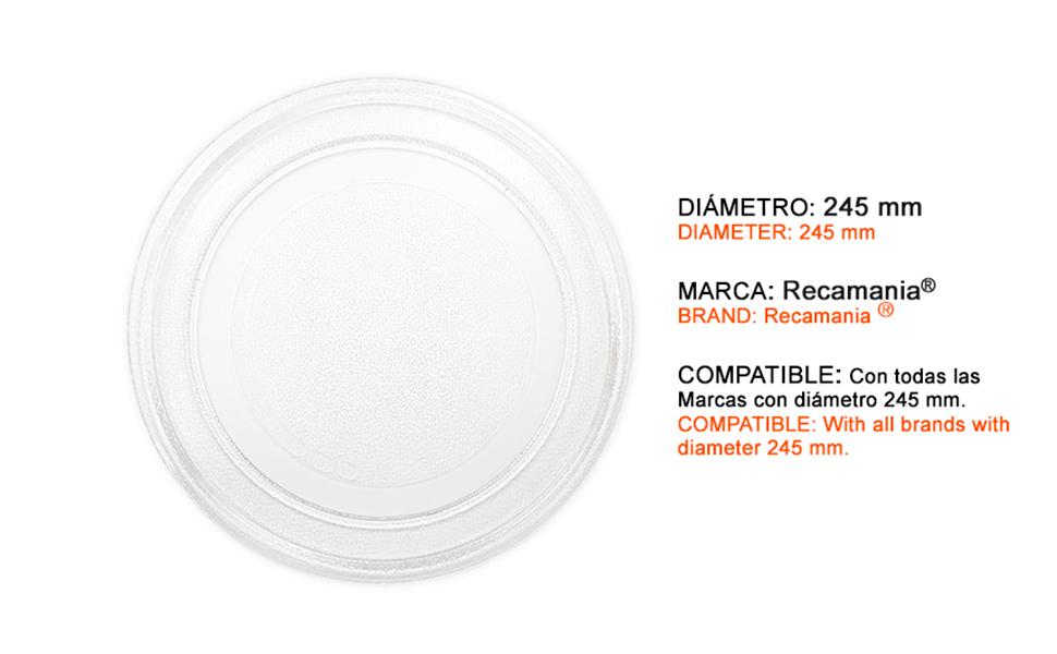 Recamania Plato Giratorio microondas. Diametro Exterior 245 mm ...