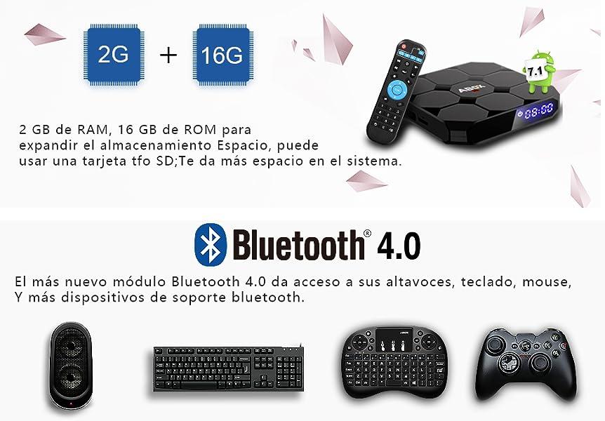 Android TV Box, GooBang Doo A1 Max Android 7.1 Smart TV Box de 2GB RAM+16GB ROM con BT 4.0 Soporta WIFI 2.4GHz /Full HD/4K H.265 Android Box: Amazon.es: Electrónica