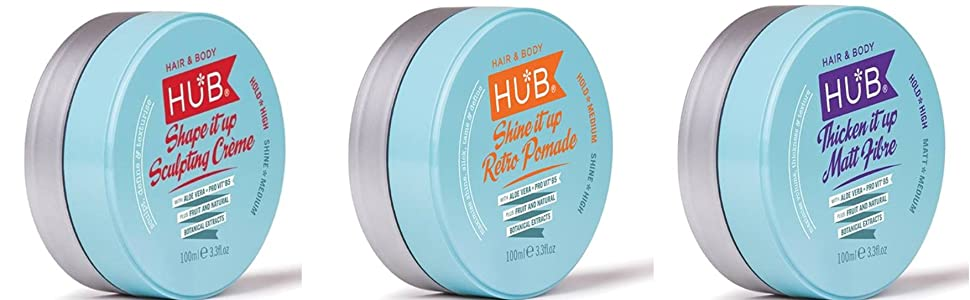 HUB Shine it up Retro Pomade Styling Product - 100 g / 100 ml x 1. Presión media y acabado en alto brillo. Cera de pelo para hombres y mujeres. Deluxe ...