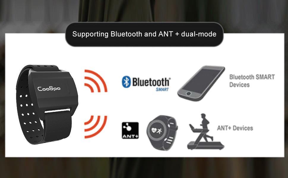 Brazalete Deportivo Seguimiento de Ejercicio para Correr Monitor de Ritmo Cardíaco con Bluetooth Ant+