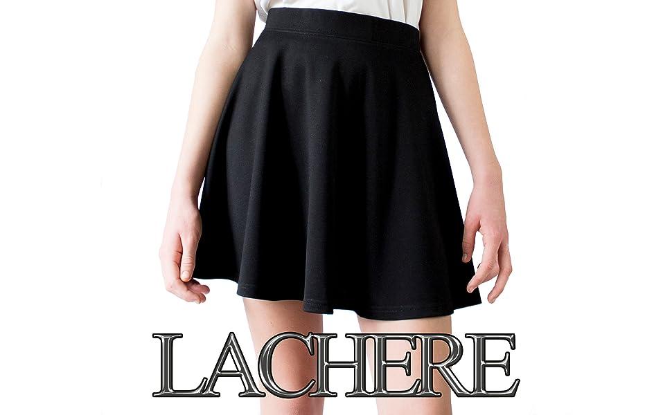 LACHERE Falda Mini Evasé | Acampanada | Básica | Stretch (Negra ...