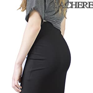 LACHERE Falda Negra Corta | Stretch | Cintura elastizada: Amazon ...