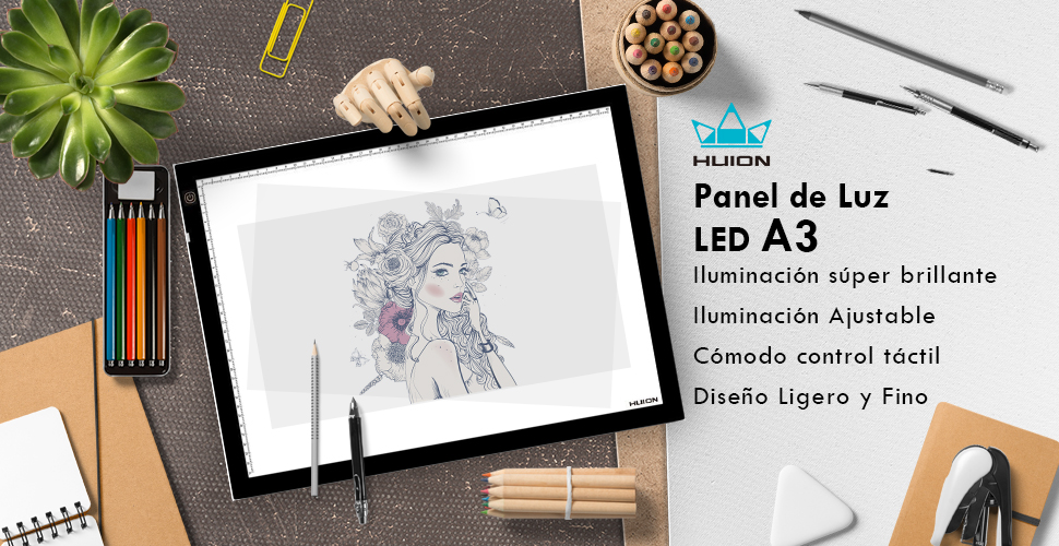 Panel de Luz LED Huion A3 415 * 330mm Panel de Trazado ultra-fino con Iluminación Ajustable para Artistas: Amazon.es: Hogar