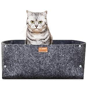 PiuPet® Cama para Gatos con cojín, Adecuado como una Manta para Perros pequeños, Cama de Gato Gris, Acogedora Cueva de Gatos