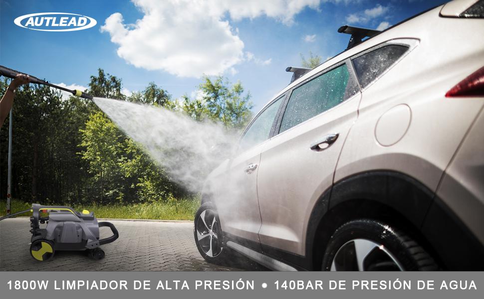 AUTLEAD Hidrolimpiadora de Alta Presión, 1800W 140 Bar 468 L/H Limpiadora, 3 Diferentes Boquillas, Cable 5M, Aguja de Limpieza, Cubo de Limpieza 1L, ...