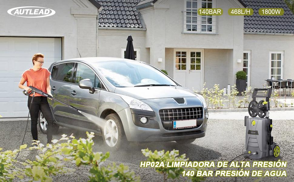 AUTLEAD Hidrolimpiadora de Alta Presión, 1800 W 140 Bares 468 L/H, Potente Limpiadora Eléctrica HP02A, Enrollador de Manguera, 1L Depósito para ...