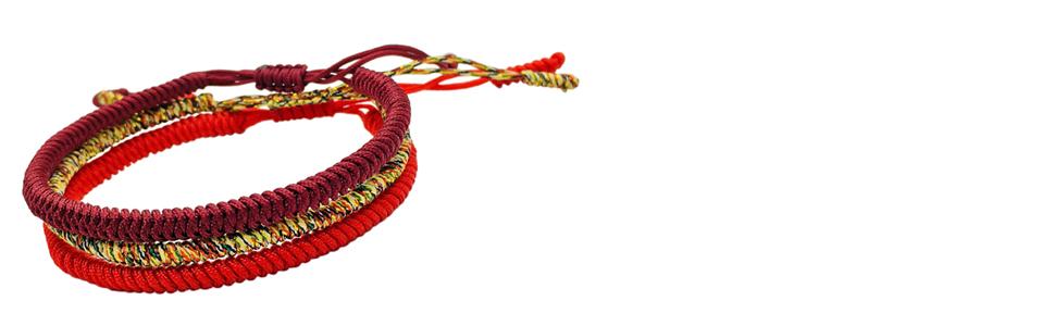 7382673d948a Reclaiming Zen Pulsera Tibetana Cuerda Budista Hecha a Mano Nudo de ...