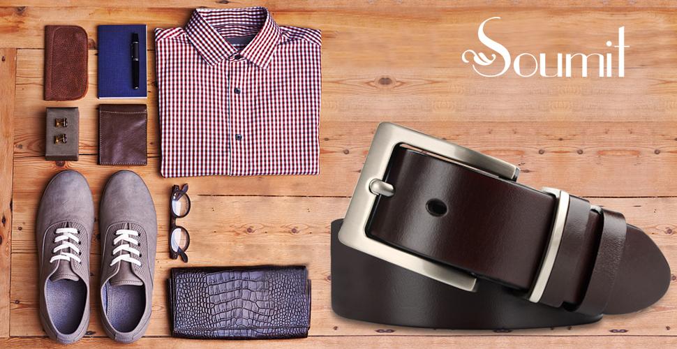 SOUMIT - Kit de cinturón para hombre - Moda cuero genuino ...