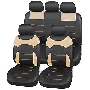 vista frontal de las fundas de los asientos de imitación de cuero en color beige