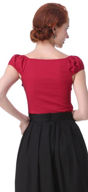 Características: Marca: Zaful Material: 97% algodón 3% Spandex Color: vino rojo / negro / azul / rojo / blanco. Longitud de la manga: Cortocircuito