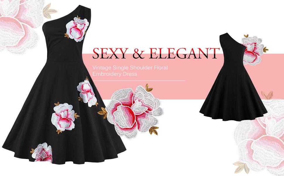ZAFUL Mujer Vintage Vestido Años 50 Impresión Floral o Mariposa Hombro sin Manga Vestidos de Coctel Fiesta Noche A-Line Retro Rockabilly Verano Dress S - ...