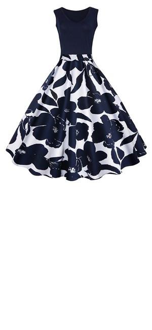 Estilo: Vintage Silueta: A-Line Material: 65% algodón + 35% poliéster CColor: Verde / Azul Punto / Azul folres / Blanco Longitud de los vestidos: Rodilla- ...