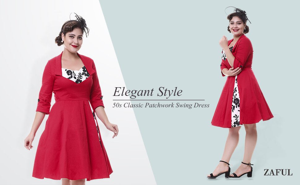 ZAFUL Mujer Vintage Vestido de Fiesta 3/4 Mangas Impresión Floral A-Line S-4XL