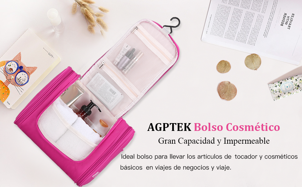 e925ad6ea AGPTEK Bolsa de Aseo Necesar de Viaje, Neceser para Colgar Impermeable con  Gancho y Mango para ...