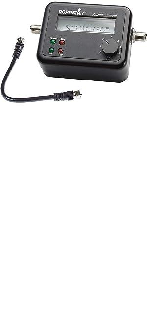Poppstar - Satfinder para una calibración exacta de satélites y Antenas, MAX. 100mA, Incluye Cable de conexión de 19,5 cm