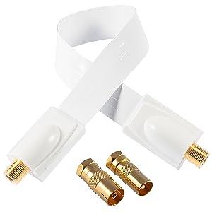Poppstar - 1x 28cm Cable pasaventanas SAT (cable coaxial muy plano 0,2mm), 2x conector F (1x conector de antena IEC, 1x conector), contactos dorados, blanco