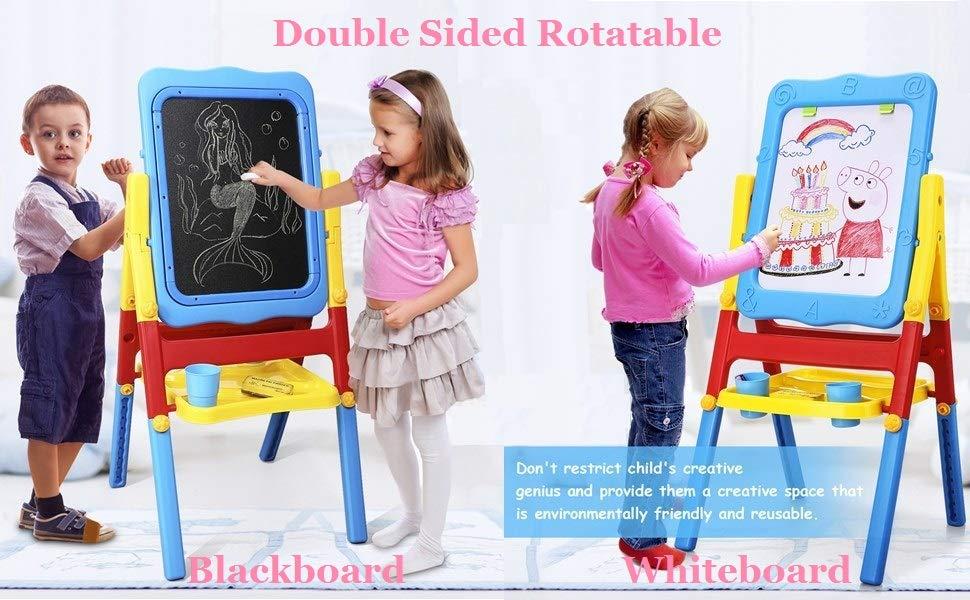 Shinehalo 2 Lados Caballete Plegable Pizarra Pizarra de Dibujo y Pizarra magnética Borrable Pizarra de Dibujo para Niños (Grande)